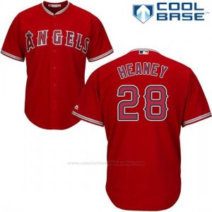 Camiseta Beisbol Hombre Los Angeles Angels 28 Andrew Heaney Scarlet Cool Base