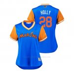 Camiseta Beisbol Mujer Miami Marlins Bryan Holaday 2018 Llws Players Weekend Holly Light Toronto Blue Jays