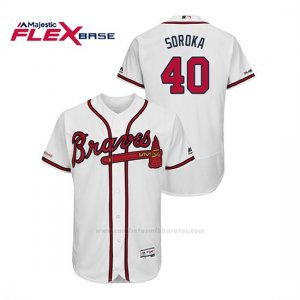 Camiseta Beisbol Hombre Atlanta Braves Mike Soroka 150th Aniversario Patch Flex Base Blanco