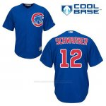 Camiseta Beisbol Hombre Chicago Cubs 12 Kyle Schwarber Azul Alterno Cool Base