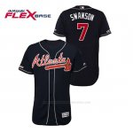 Camiseta Beisbol Hombre Atlanta Braves Dansby Swanson 150th Aniversario Patch Autentico Flex Base Azul