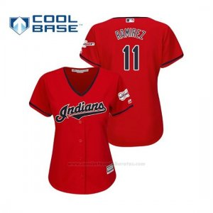 Camiseta Beisbol Mujer Cleveland Indians Jose Ramirez 2019 All Star Game Patch Cool Base Rojo