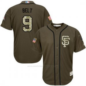 Camiseta Beisbol Hombre San Francisco Giants 9 Brandon Belt Verde Salute To Service