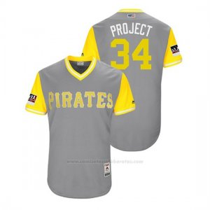 Camiseta Beisbol Hombre Pittsburgh Pirates Trevor Williams 2018 Llws Players Weekend Project Gris