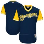 Camiseta Beisbol Hombre Milwaukee Brewers Players Weekend 2017 Personalizada Azul