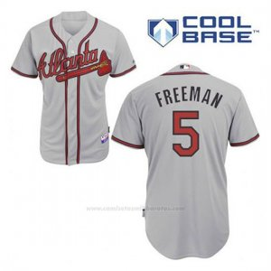 Camiseta Beisbol Hombre Atlanta Braves 5 Frojodie Freeman Gris Cool Base
