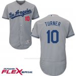 Camiseta Beisbol Hombre Los Angeles Dodgers 10 Justin Turner Gris 2017 Flex Base
