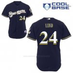 Camiseta Beisbol Hombre Milwaukee Brewers Adam Lind 24 Azul Azul Alterno Cool Base