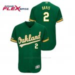 Camiseta Beisbol Hombre Oakland Athletics Khris Davis 150th Aniversario Patch Flex Base Kelly Verde
