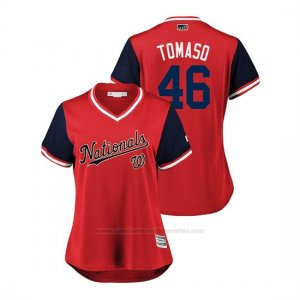 Camiseta Beisbol Mujer Washington Nationals Tommy Milone 2018 Llws Players Weekend Tomaso Rojo