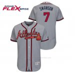 Camiseta Beisbol Hombre Atlanta Braves Dansby Swanson 150th Aniversario Patch Autentico Flex Base Gris