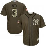 Camiseta Beisbol Hombre New York Yankees 3 Babe Ruth Verde Salute To Service