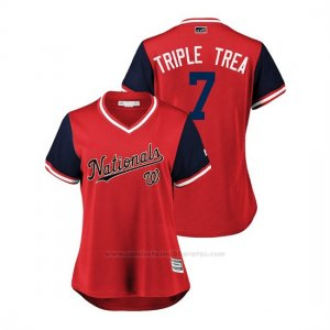 Camiseta Beisbol Mujer Washington Nationals Trea Turner 2018 Llws Players Weekend Triple Trea Rojo
