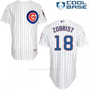Camiseta Beisbol Hombre Chicago Cubs 18 Ben Zobrist Blanco Cool Base