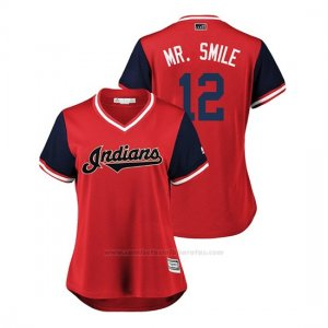 Camiseta Beisbol Mujer Cleveland Indians Francisco Lindor 2018 Llws Players Weekend Mr. Smile Rojo