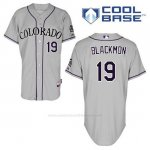 Camiseta Beisbol Hombre Colorado Rockies Charlie Negromon 19 Gris Cool Base