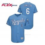 Camiseta Beisbol Hombre Kansas City Royals Billy Hamilton 150th Aniversario Patch Flex Base Azul Luminoso