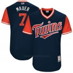 Camiseta Beisbol Hombre Minnesota Twins 2017 Little League World Series Joe Mauer Azul