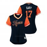 Camiseta Beisbol Mujer Detroit Tigers Grisson Greiner 2018 Llws Players Weekend Gary Azul