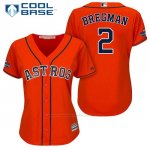 Camiseta Beisbol Mujer Houston Astros 2017 World Series Campeones Alex Bregman Naranja Cool Base
