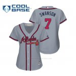 Camiseta Beisbol Mujer Atlanta Braves Dansby Swanson Cool Base Majestic Road 2019 Gris