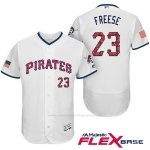 Camiseta Beisbol Hombre Pittsburgh Pirates 2017 Estrellas y Rayas David Freese Blanco Flex Base