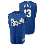 Camiseta Beisbol Hombre Kansas City Royals Salvador Perez Throwback Turn Ahead Azul