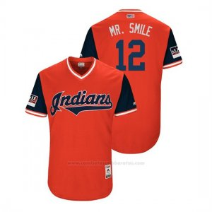 Camiseta Beisbol Hombre Cleveland Indians Francisco Lindor 2018 Llws Players Weekend Mr. Smile Rojo