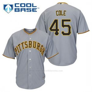 Camiseta Beisbol Hombre Pittsburgh Pirates Gerrit Cole 45 Gris Cool Base