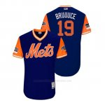 Camiseta Beisbol Hombre New York Mets Jay Bruce 2018 Llws Players Weekend Bruuuce Royal