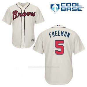 Camiseta Beisbol Hombre Atlanta Braves 5 Frojodie Freeman Crema Alterno Cool Base