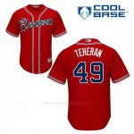 Camiseta Beisbol Hombre Atlanta Braves 49 Julio Teheran Rojo Alterno Cool Base