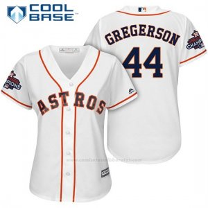 Camiseta Beisbol Mujer Houston Astros 2017 World Series Campeones Luke Gregerson Blanco Cool Base