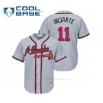 Camiseta Beisbol Hombre Atlanta Braves Ender Inciarte Cool Base Majestic Road 2019 Gris