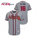 Camiseta Beisbol Hombre Atlanta Braves Brian Mccann 150th Aniversario Patch Autentico Flex Base Gris