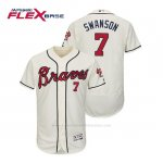 Camiseta Beisbol Hombre Atlanta Braves Dansby Swanson Flex Base Autentico Collezione Alternato 2019 Crema