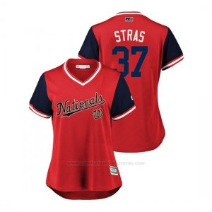 Camiseta Beisbol Mujer Washington Nationals Stephen Strasburg 2018 Llws Players Weekend Stras Rojo