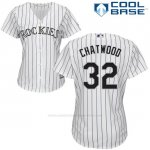 Camiseta Beisbol Mujer Colorado Rockies Tyler Chatwood 32 Blanco Autentico Coleccion Cool Base