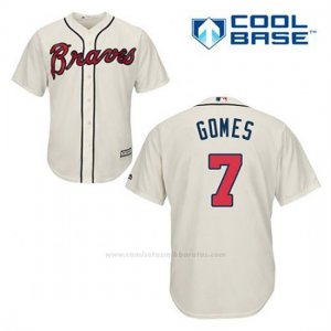 Camiseta Beisbol Hombre Atlanta Braves 7 Jonny Gomes Crema Alterno Cool Base
