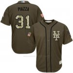 Camiseta Beisbol Hombre New York Mets 31 Mike Piazza Verde Salute To Service