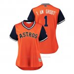 Camiseta Beisbol Mujer Houston Astros Carlos Correa 2018 Llws Players Weekend I Am Groot Orange