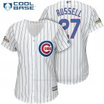 Camiseta Beisbol Mujer Chicago Cubs 2017 Postemporada 27 Addison Russell Blanco Cool Base