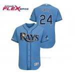 Camiseta Beisbol Hombre Tampa Bay Rays Avisail Garcia 150th Aniversario Patch Autentico Flex Base Azul Luminoso