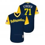 Camiseta Beisbol Hombre Milwaukee Brewers Josh Hader 2018 Llws Players Weekend Stricken Azul