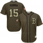 Camiseta Beisbol Hombre Boston Red Sox 15 Dustin Pedroia Verde Salute To Service