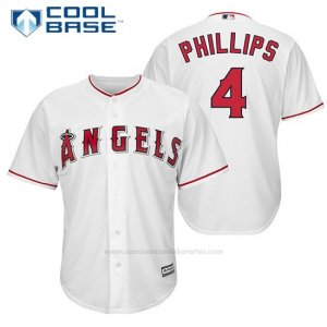 Camiseta Beisbol Hombre Los Angeles Angels 4 Brandon Phillips Blanco 1ª Jugador Cool Base