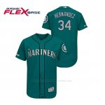 Camiseta Beisbol Hombre Seattle Mariners Felix Hernandez 150th Aniversario Patch Autentico Flex Base Verde