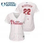 Camiseta Beisbol Mujer Philadelphia Phillies Andrew Mccutchen Cool Base Official Home Blanco