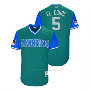 Camiseta Beisbol Hombre Seattle Mariners Guillermo Heredia 2018 Llws Players Weekend El Conde Aqua