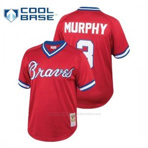 Camiseta Beisbol Hombre Atlanta Braves Dale Murphy Cooperstown Collezione Mesh Batting Practice Rojo